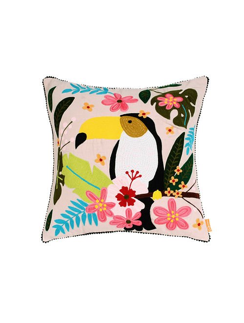 Tucan Off-White Hand Crewel-Embroidered Cotton Cushion Cover (18in x 18in)