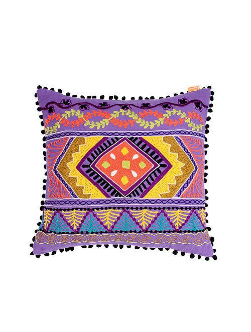 Suzzani Purple Hand Crewel-Embroidered Cotton Cushion Cover (18in x 18in)
