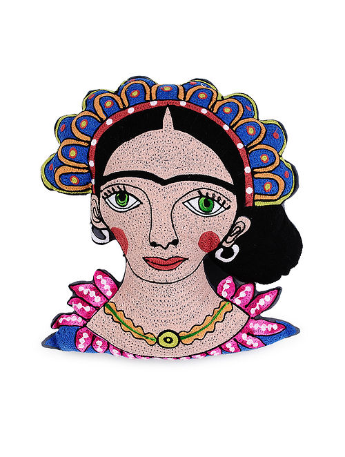 Frida Kahlo-Inspired Grey Hand Crewel-Embroidered Cotton Cushion Cover (18in x 10in)