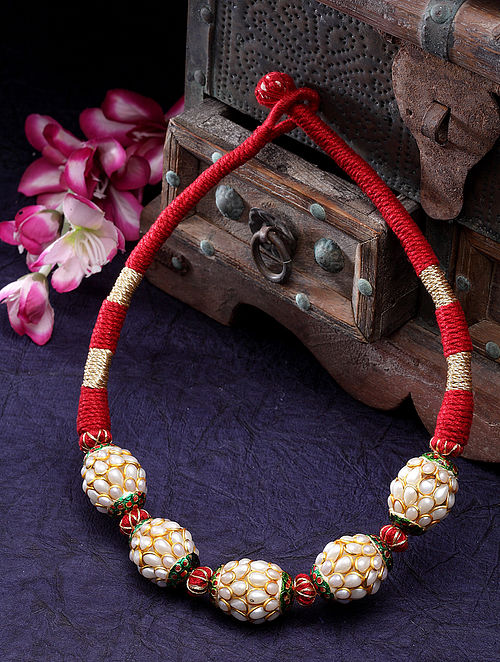Red Gold Plated Pachi Pearl Necklace
