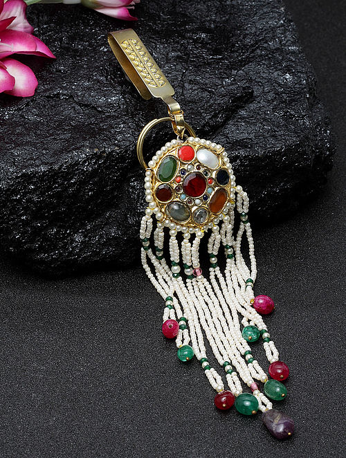 Multicolored Gold Plated Navrattan Key Chain with Pearls