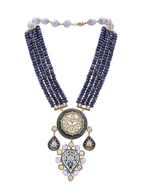 Blue Gold Tone Kundan Necklace