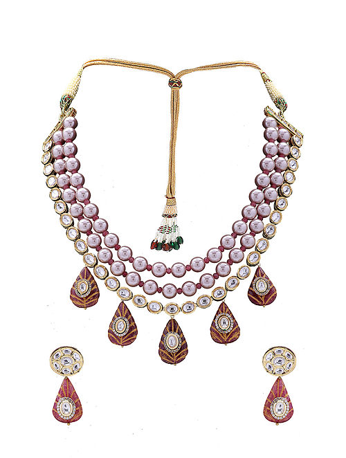 Red Pink Gold Tone Kundan Necklace with Earrings
