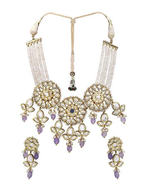 White Purple Gold Tone Kundan Choker Necklace with Earrings