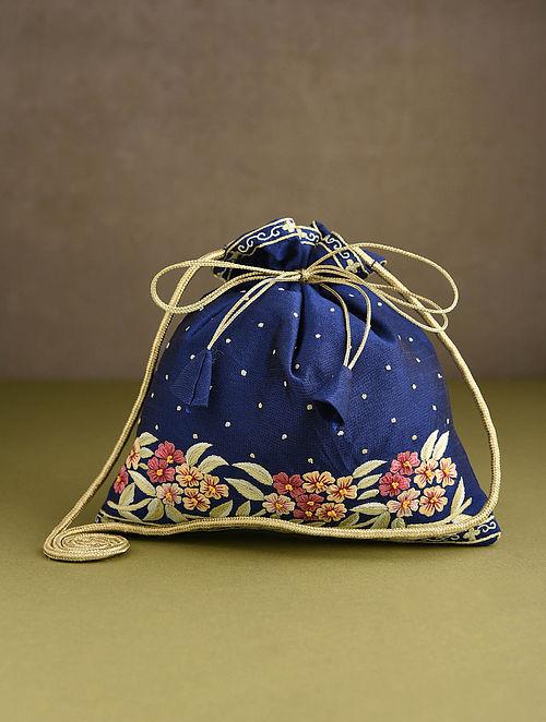 Blue Hand Embroidered Silk Potli