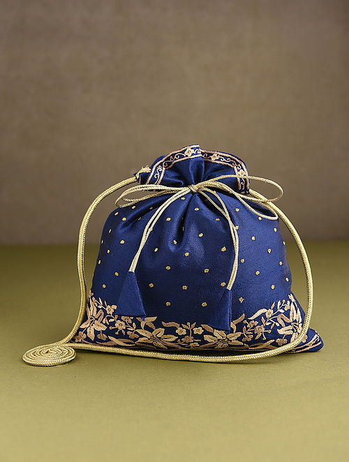 Blue Hand Embroidered Silk Potli