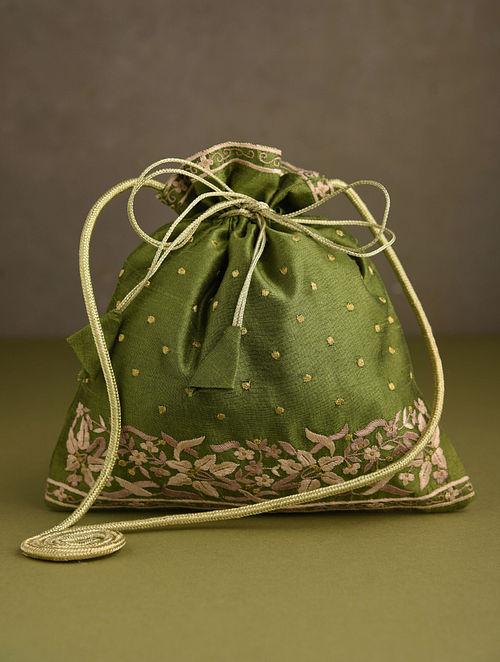 Olive Green Hand Embroidered Silk Potli
