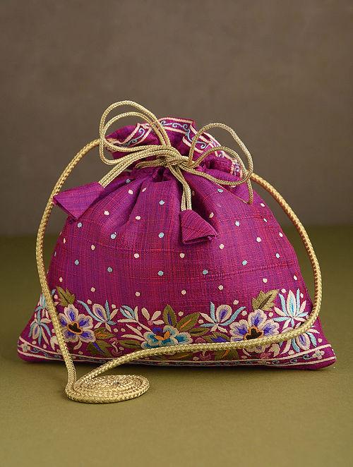 Pink Hand Embroidered Silk Potli