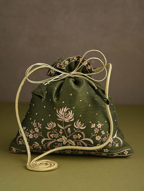 Olive Green Hand Embroidered Silk Potli
