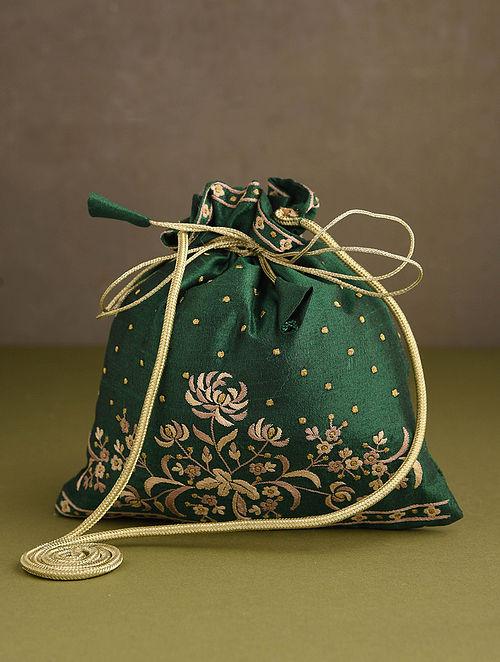 Dark Green Hand Embroidered Silk Potli
