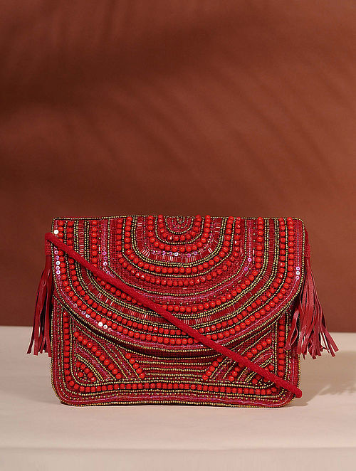 Red Handcrafted Jute Boho Sling Bag