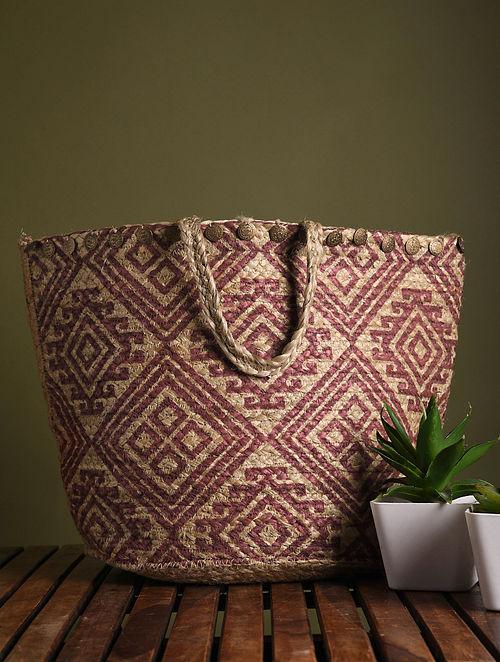 Brown Maroon Handblock Printed Jute Tote Bag