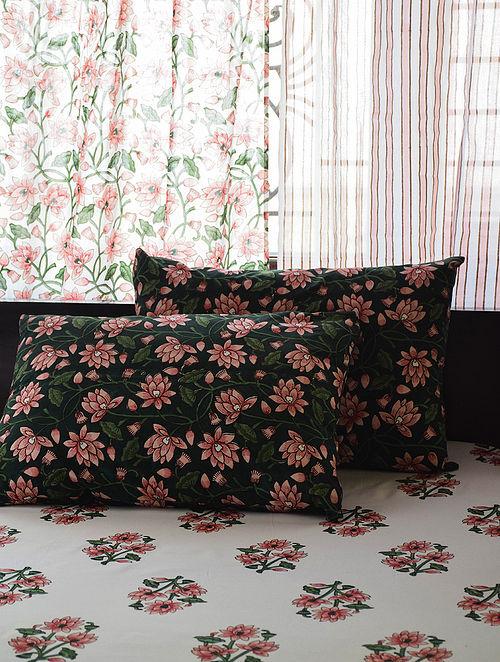 Pink and Green Hand Block-Printed Cotton Bedsheet Set