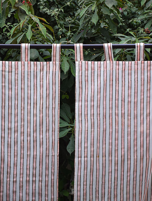 White and Pink Hand Block-Printed Mulmul Cotton Curtain