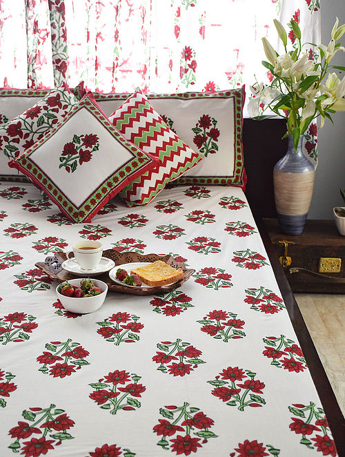 Maroon and Green Hand Block-Printed Cotton Bedsheet Set