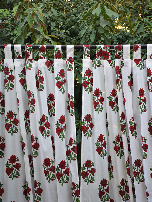 Maroon and Green Hand Block-Printed Mulmul Cotton Curtain