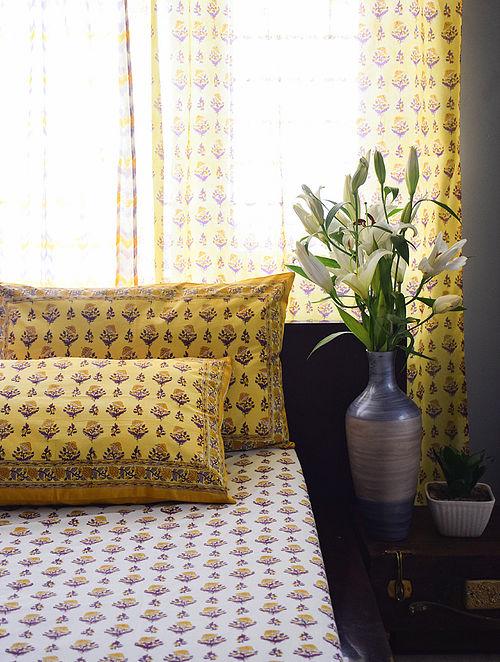 Yellow and Purple Hand Block-Printed Cotton Bedsheet Set