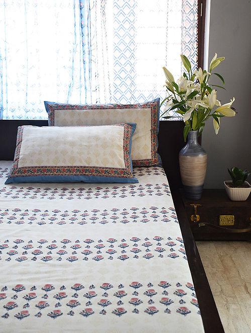 Blue-Multicolor Hand Block-Printed Cotton Bedsheet Set