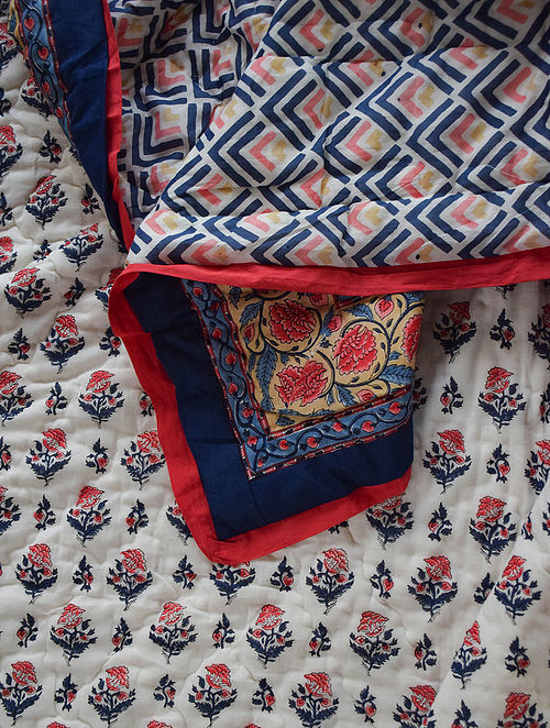 Blue and Pink Hand Block-Printed Mulmul Cotton Reversible Quilt