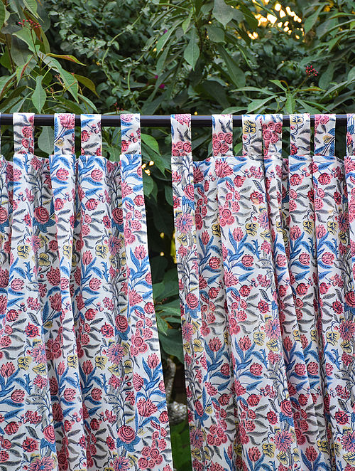Blue and Pink Hand Block-Printed Mulmul Cotton Curtain