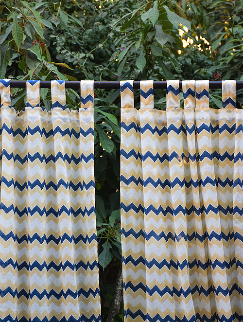 Blue and Beige Hand Block-Printed Mulmul Cotton Curtain