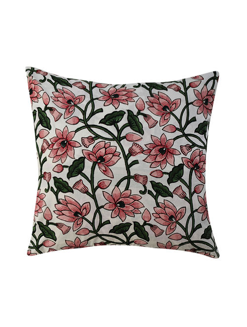 Pink and Green Hand Block-Printed Cotton Cushion