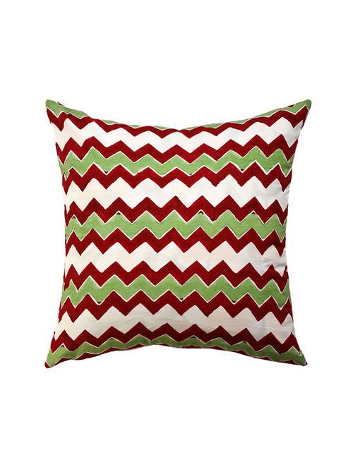 Maroon and Green Hand Block-Printed Cotton Cushion