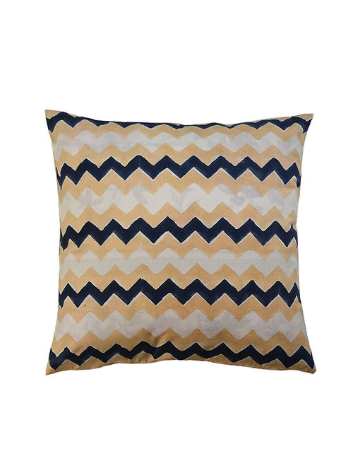 Blue and Beige Hand Block-Printed Cotton Cushion