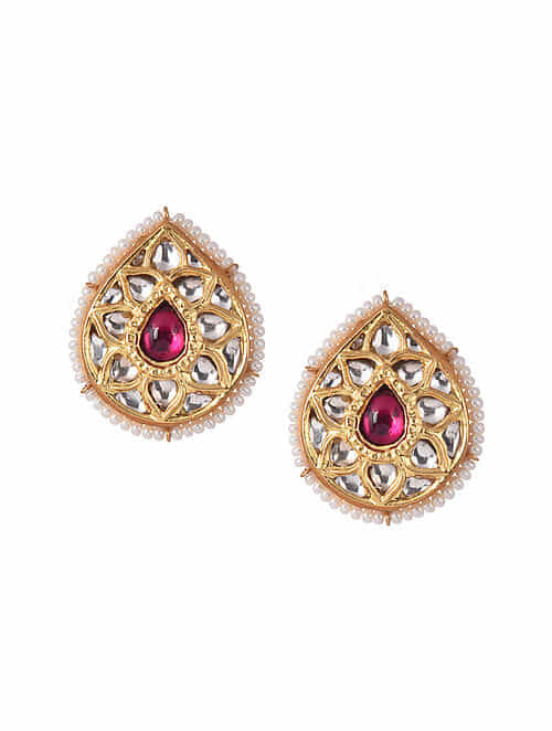 Maroon Gold Tone Silver Earrings With Pearls