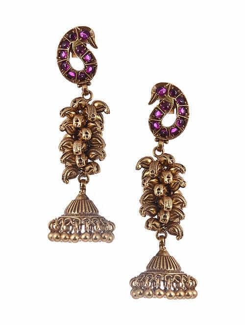 Gold Tone Silver Jhumki Earrings