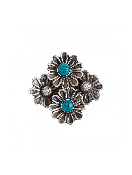 Turquoise Tribal Sterling Silver Adjustable Ring