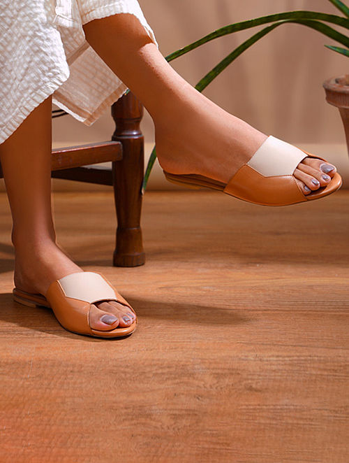 Tan Nude Handcrafted Genuine Leather Flats