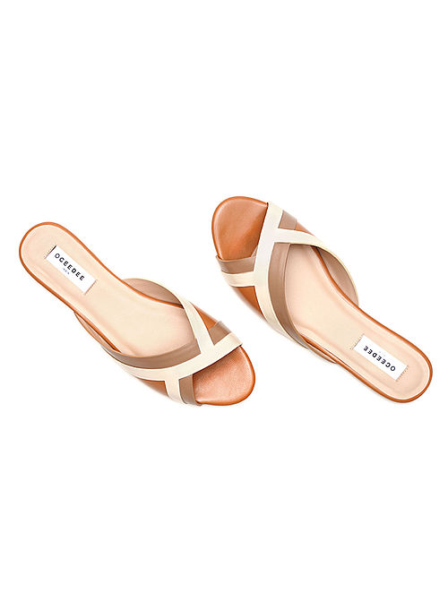 Nude Ivory Handcrafted Genuine Leather Flats