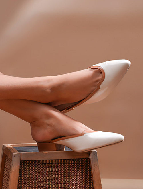 Ivory Tan Handcrafted Genuine Leather Block Heels