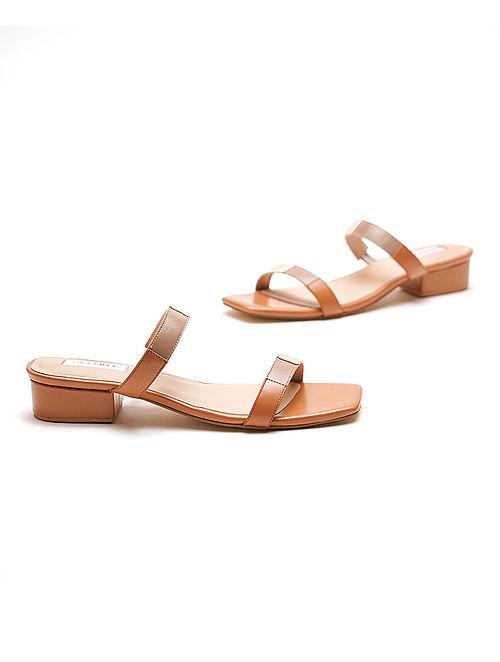 Tan Nude Handcrafted Genuine Leather Block Heels