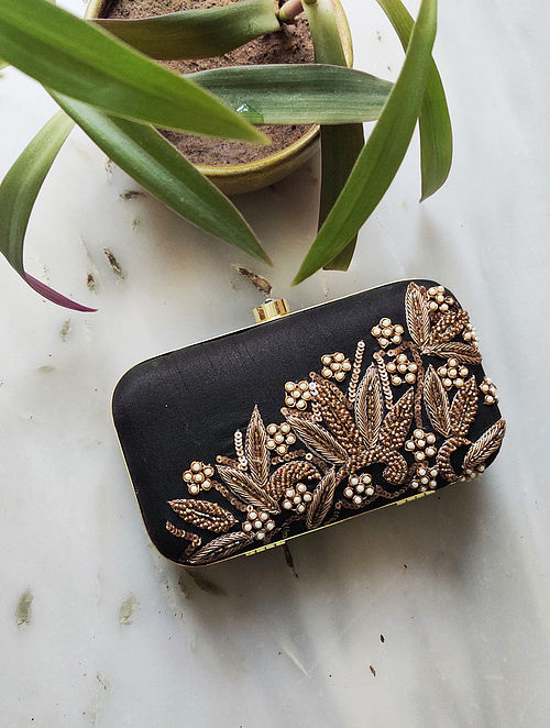 Black Hand Embroidered Raw Silk Clutch
