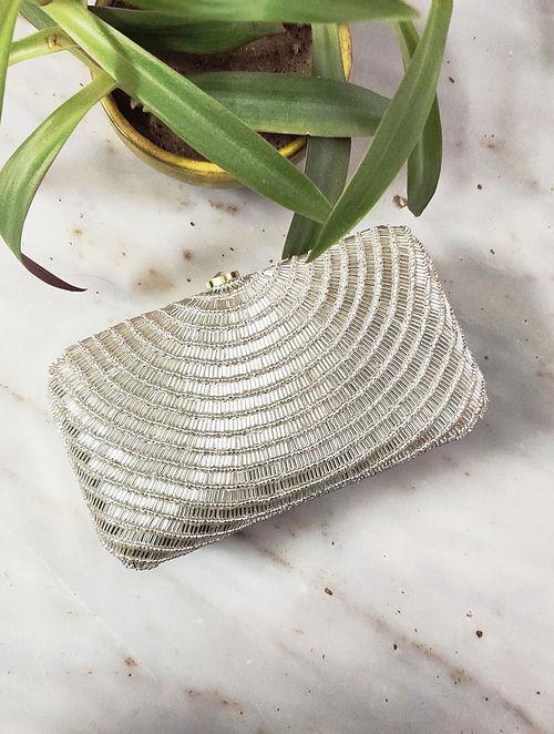 Silver Handcrafted Raw Silk Clutch