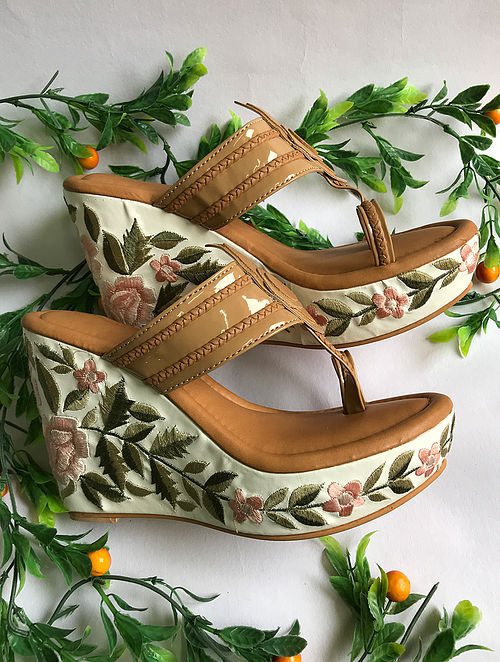 Nude Handcrafted Faux Leather Kolhapuri Wedges