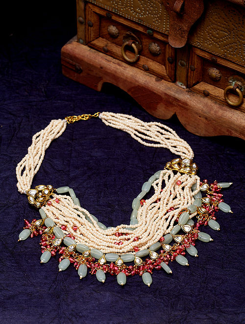 Green Red Gold Plated Necklace with Pearls