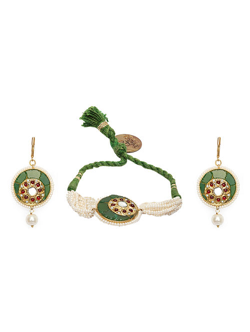 Green Gold Plated Kundan Bracelet with Earrings