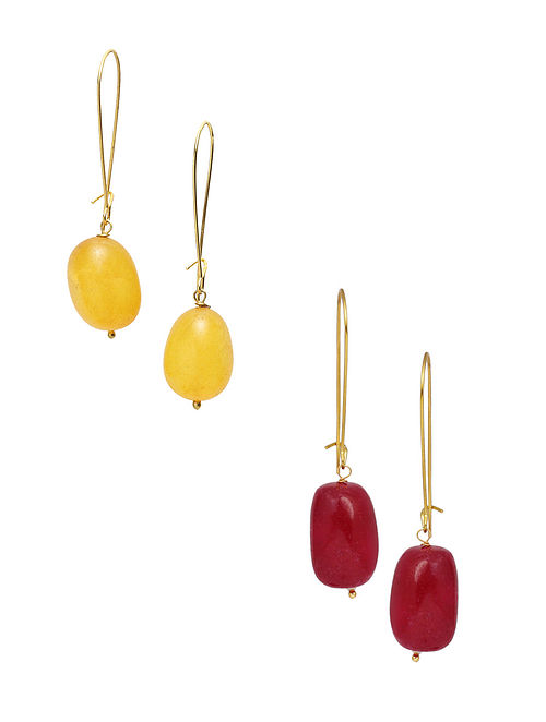 Yellow Red Gold Plated Earrings (Set of 2)