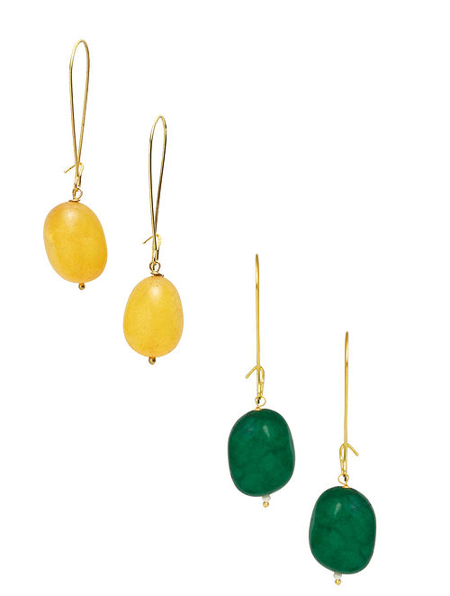 Yellow Green Gold Plated Earrings (Set of 2)