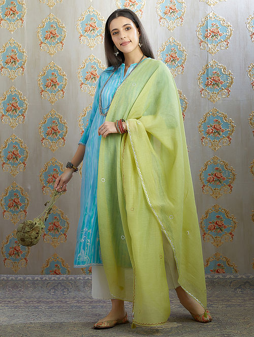 Green Silver Foil Printed Cotton Chanderi Dupatta with Tassel Details