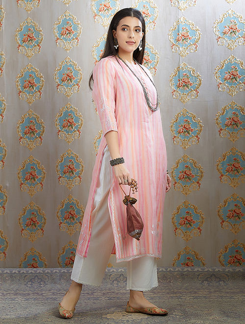 Pink Silver Foil Printed Organza Kurta with Hand Painted Cotton Lining