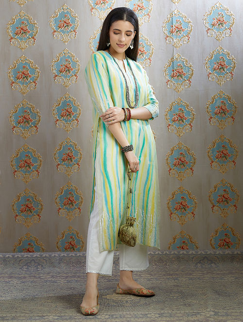 Green Silver Foil Printed Organza Kurta with Hand Painted Cotton Lining