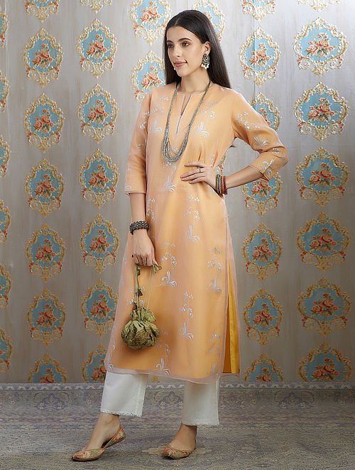 Orange Silver Foil Printed Organza Kurta with Hand Painted Cotton Lining