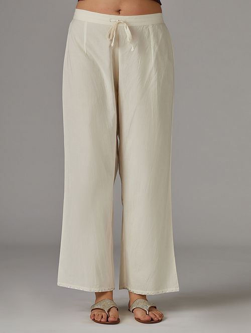 Ivory Silver Foil Printed Cotton Pants
