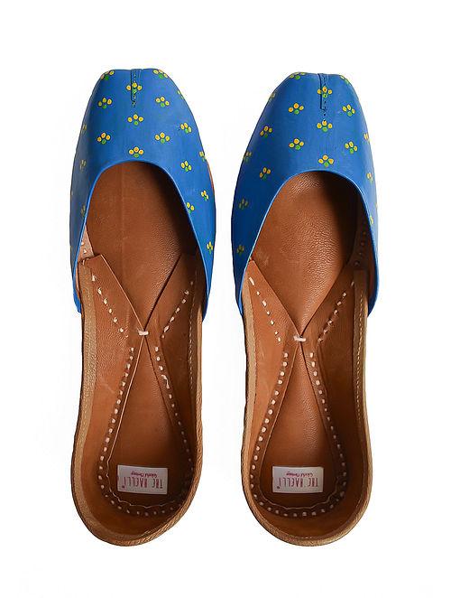 Indigo Handpainted Genuine Leather Juttis