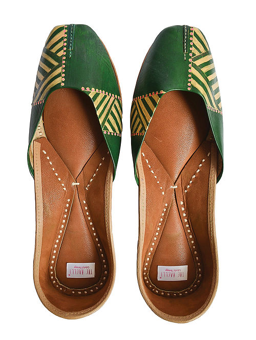 Emerald Green Handpainted Genuine Leather Juttis