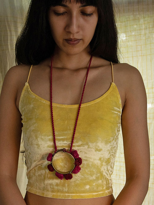 Red Pink Silver Tone Handcrafted Thread Necklace
